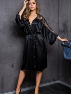 Черный сатиновый женский домашний халат с кружевным рукавом Mia-Mia Evelin