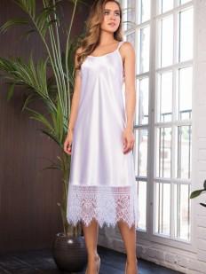Атласная белая сорочка платье на тонких бретелях Mia-Mia Evelin
