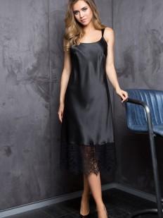 Атласная черная сорочка платье на тонких бретелях Mia-Mia Evelin