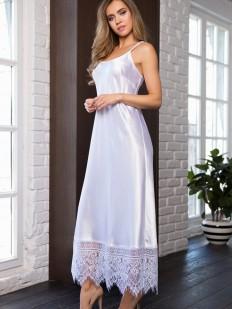 Атласная длинная белая сорочка платье на тонких бретелях Mia-Mia Evelin