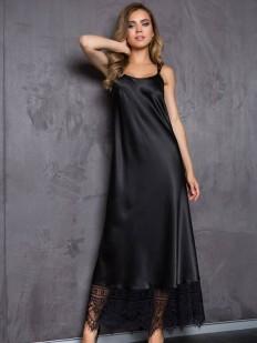 Атласная длинная черная сорочка платье на тонких бретелях Mia-Mia Evelin