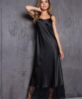 Длинная атласная черная женская сорочка платье с кружевной отделкой
