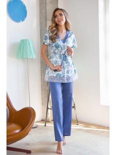 Женская атласная пижама с брюками для беременных