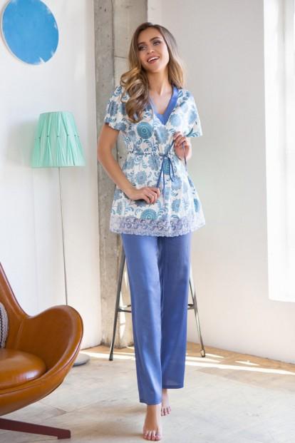 Женская атласная пижама с брюками и цветочным верхом Mia-Mia Julie 17546 - фото 1