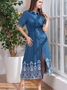Пляжное женское платье рубашка из джинсового хлопка