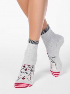 Хлопковые женские носки с цветным рисунком и полосками