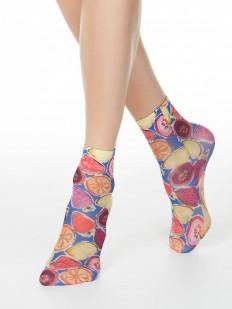 Женские носочки с акварельным фруктовым рисунком 40 DEN