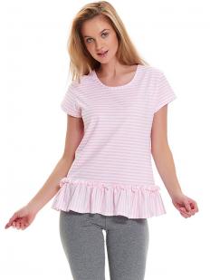 Женская хлопковая пижама с леггинсами и розовой футболкой в полоску