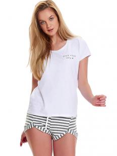 Женская летняя пижама хлопковая с полосатыми шортами и белой футболкой