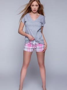 Пижамный женский хлопковый комплект с шортами в клетку