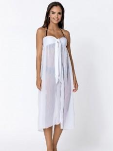 Женское белое пляжное платье парео из воздушного материала