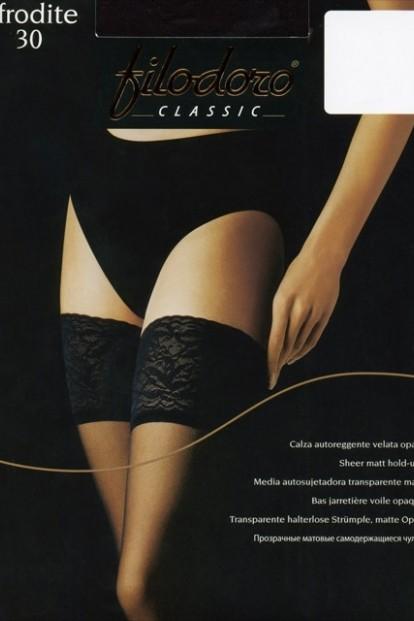 Классические кружевные чулки с прозрачным мыском Filodoro Classic AFRODITE 30 autoreggente - фото 1