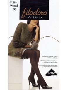 Теплые хлопковые колготки с шерстью Filodoro Classic COTTON WOOL 100