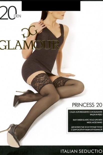 Тонкие шелковистые кружевные чулки с широкой резинкой Glamour PRINCESS 20 - фото 1