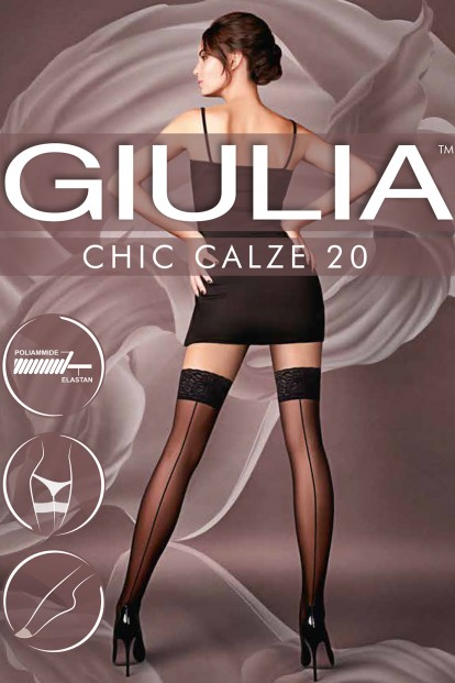 Тонкие шелковистые кружевные чулки с имитацией шва Giulia CHIC 20 - фото 1